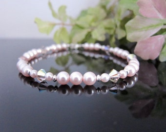 Swarovski Pearl and Crystal Ankle Bracelet in Rosaline Pink