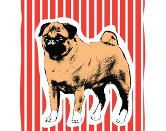 Pug Art Print  - Dog Pop Art - 8x10 Screenprint