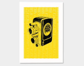 Camera No.1 (Yellow) - Hand Printed Art Print - 5X7