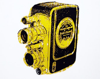 Vintage Camera Art Print (Yellow) - Hand Printed