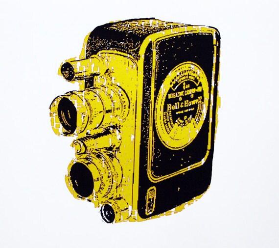 Vintage Camera Art Print (Yellow) - Hand Printed