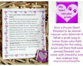 Animal Rescuer Purple Heart  Glass Pendant