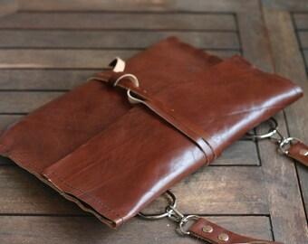 Ipad leather purse - Handmade Leather Ipad case - Leather handbag - Leather case - removable shoulder belt