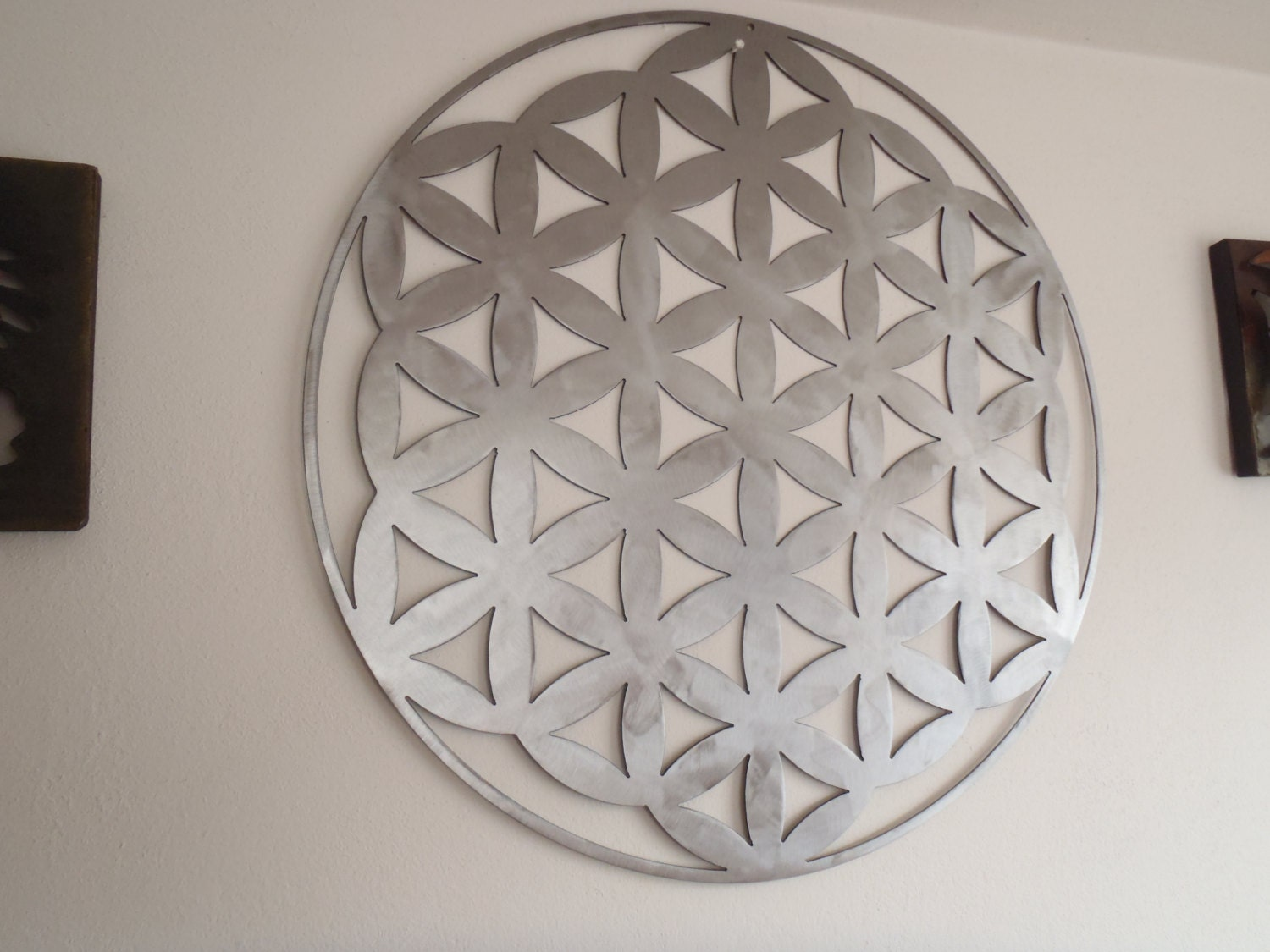 Flower of lifebrushed steel metal wall decor metal art for Metal flower wall art