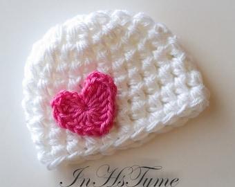 Crochet Baby Hat, Baby Girl Hat, Newborn Beanie, Baby Newborn Hat, Baby Girl, Newborn Prop, White Hot Pink, Valentine Heart, Newborn Girl