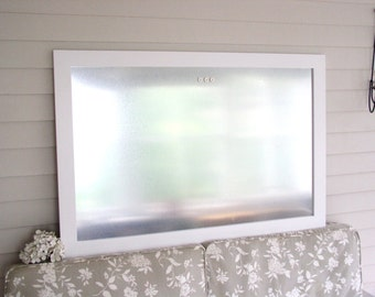 Industrial Chic Wood Framed Magnetic Bulletin Board Dry Erase