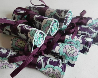 Jewelry Roll - Bridesmaid Gift/Favor for Bridal Party of 8 Travel Jewelry Rolls