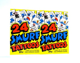 2 Smurf Tattoo Packs by Topps 48 Tattoos 1982
