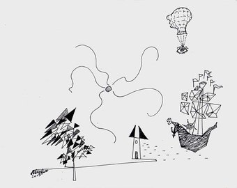 Surreal Dream, Surrealism, Line Drawing, FantasyFrom alsaffarstudio