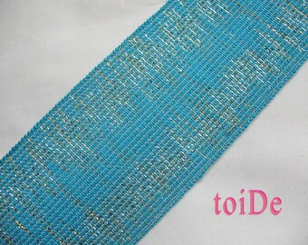 Wide Elastic Ribbon - Turquoise, Glitter - Fancy, Stretch