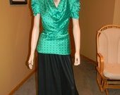 vintage Satin 30s blouse. 1930S Long black skirt. Jean Harlow wardrobe. Holiday skirt and top. dressy tops.Holiday green w/polka dots