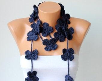 crochet lariat ,flower lariat scarf ,crochet lariat  jewelery,navy