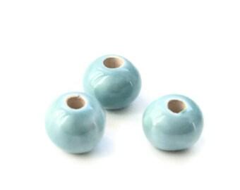Seafoam Mint Ceramic Beads, Pearlized Round Ceramic Beads, greek ceramic beads 12mm C 10 142