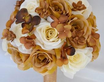 "17 pcs Wedding Bridal Bouquet Set Decoration Silk Flower CREAM BURLAP Country ""Lily of Angeles"""