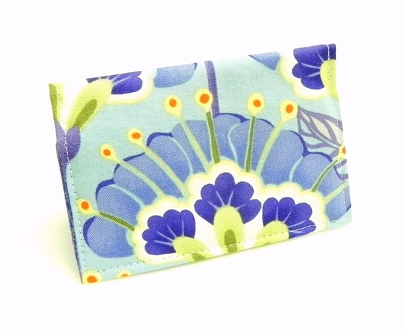 Business Card Holder - Floral in dusty blue, green, lavender and orange