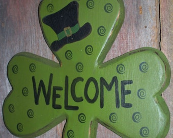 Welcome St Patrick's Clover Door Decor