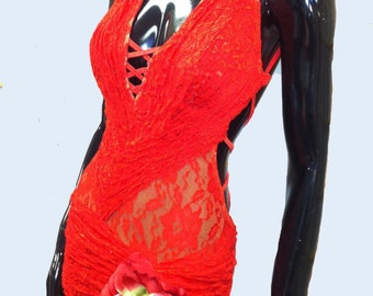 Red Lace  Dance Latin  Dress