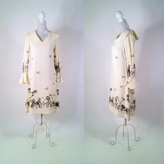RESERVED Vintage 1970s Cream Ruffled Dress - Folk Pattern of Birds in Woodland - BIG SCENE England