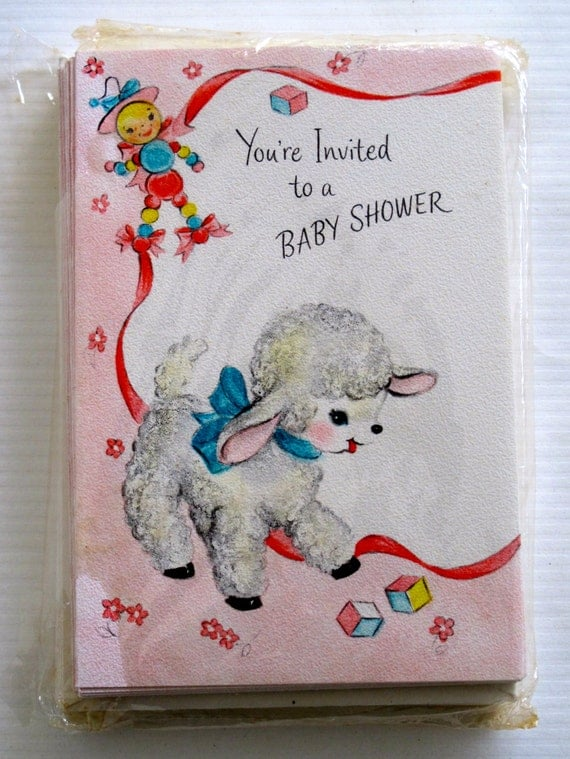 vintage hallmark baby shower invitations by vintagebeachkids