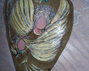 Vintage Angel & Hummingbird Hand painted Rock Paperweight