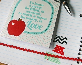 Teaching is Love Teacher Thank You Greeting Card Red Apple Aqua Blue Best Teacher Thank You Greeting Card