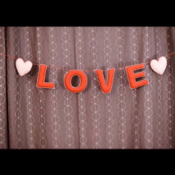 LOVE Garland, banner- red letters, white hearts and teal