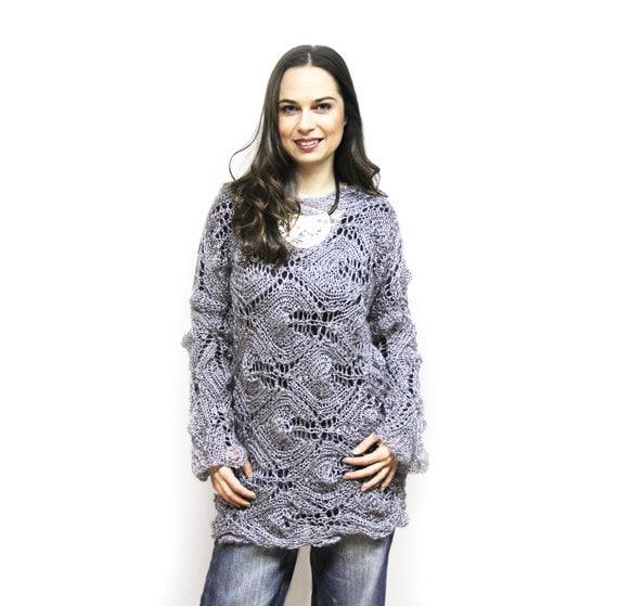Knitting Summer Sweater : Modern summer tunic loose knit sweater hand lace kid