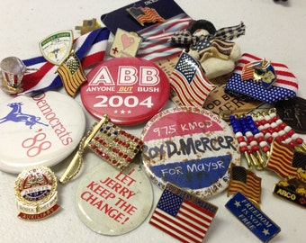 SALE Political USA Flags Patriotic Military Election Pins tie-tacks Vintage De-stash lot 85
