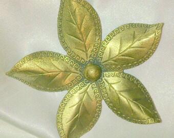 Vintage 1940's Brass Flower Brooch