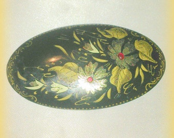Vintage Black Laquer Hand Painted Brooch