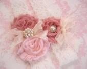 Vintage Bridal Garter, Wedding Garter, Toss Garter  Dusty Rose, Ivory with Rhinestones and Pearls  Custom Wedding colors