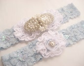 Blue Garter, Pearl Wedding Garter Set, Toss Garter,  Something Blue, Blue and White Bridal garter