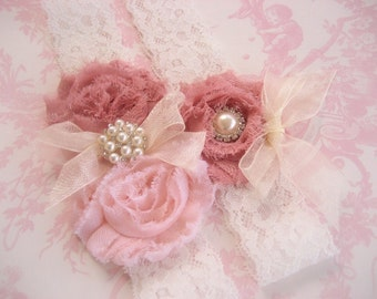 Wedding Garter, Vintage Bridal Garter,  Toss Garter  Dusty Rose, Ivory with Rhinestones and Pearls  Custom Wedding colors