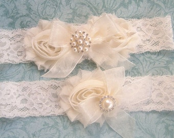 SALE Vintage Bridal Garter- Wedding Garter Set- Toss Garter included Lace Garter  Ivory with Rhinestones and Pearls  Custom Wedding colors