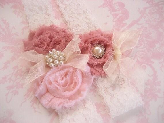 Wedding Garter, Vintage Bridal Garter,  Toss Garter  Dusty Rose, Ivory with Rhinestones and Pearls  Custom Wedding colors