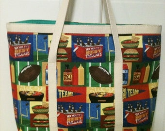 Tailgating shoppers tote bag with matching apron
