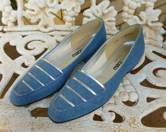 1990s Denim Shoes Low Heel Pointed Toe Silver Stripes Magdesians Womens Vintage 7