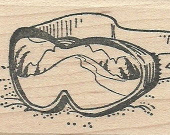 Ski Goggle with Scene - Wood Mounted Rubber Stamp