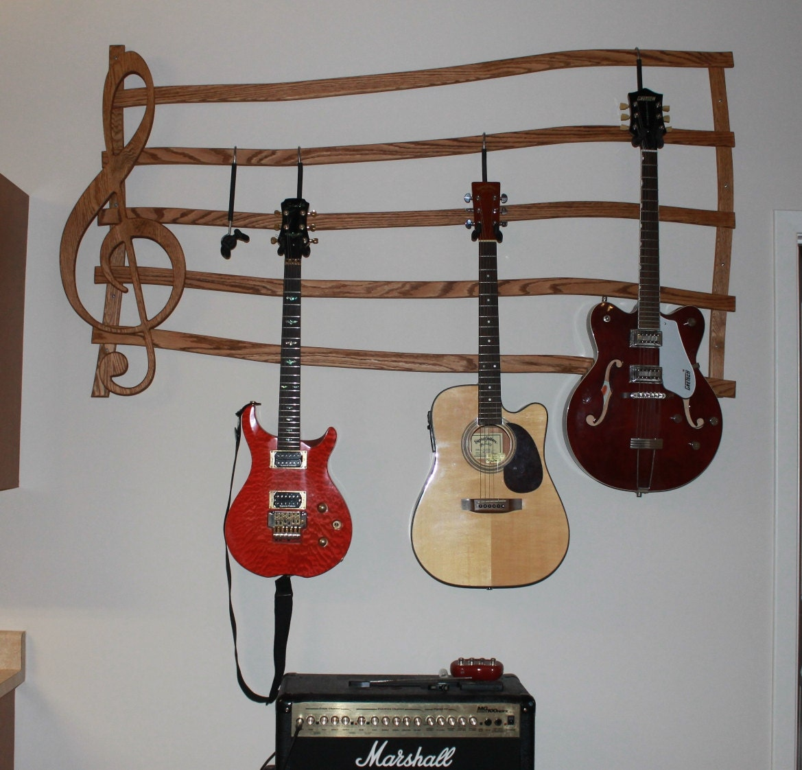 multiple guitar hanger wall mount by dougsrustics on etsy. Black Bedroom Furniture Sets. Home Design Ideas