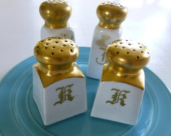 Vintage set of white and gold salt & peppers Bavaria Monograms R and T for Hat Pins too Winter Wedding decor