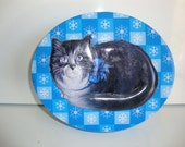 Vintage  Metal  Candy Box,  Cookie Tin, Country Kitchen, Cat Decorated Metal Tin
