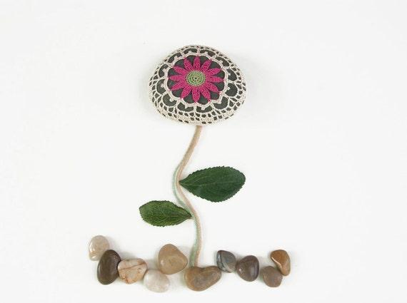 Art object, Crochet lace beach stone, fuschia gerbera, dark river rock, wedding decor, shabby chic, housewarming gift
