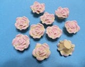 10 Fimo Polymer Clay Pink Yellow Flower Rose Fimo Beads 20mm
