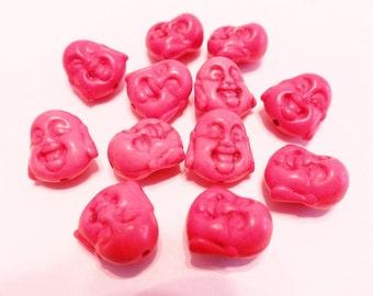 New  5 Gemstone Red Buddha Face Beads 15mm