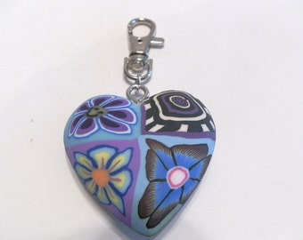 1 Fimo Polymer Clay Blue Flowers Large Heart with Keychain 55mm