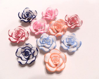 20 Fimo Polymer Fimo  Clay Orange Blue Red Pink Light Blue White Flower Rose Beads 20mm