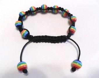 New Handmade Shamballa Acrylic Rainbow Bracelet Beads