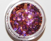 Solvent Resistant Glitter Mix: Purple and Gold  Sparkle Mix 5 GRAM JAR. Raw Nail Glitter Mix for Nail Polish and Nail Art