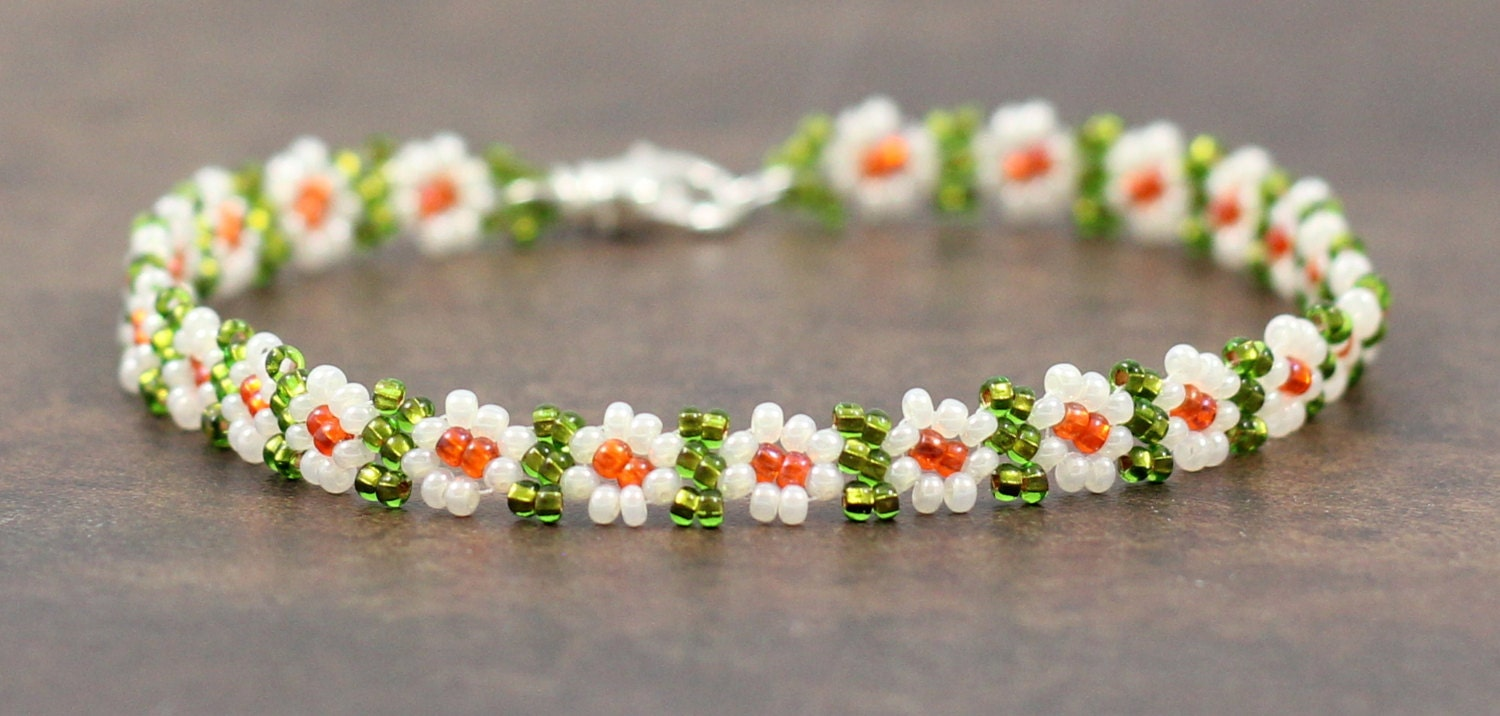 Beaded Anklet Daisy Chain Anklet Seed Bead Jewelry Ankle