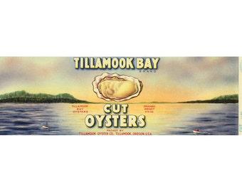 2 Tillamook Bay Cut Oyster can labels